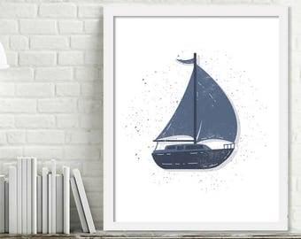 Printable Sailboat Wall Art, Kids Ocean Room Decor, Ocean Nursery Wall Art, Sailboat Print Digital Download Picture