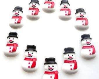 Christmas Snowman Flatback Resin 25mm