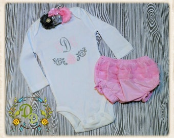 Monogram ONESIE®, Monogram Baby , Take home , Newborn Gift , Baby Shower , Gray and Pink Onesie