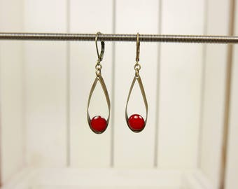 Red frill earrings