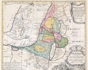 Antique map of Map of Holy Land ,12 Tribes, 1750, old map of Palestine, Israel, fine art print