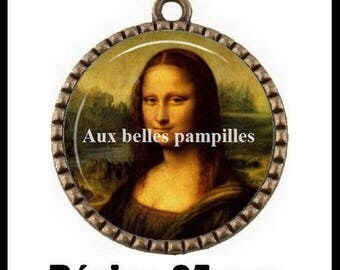 Bronze pendant Cabochon - Mona Lisa - (83)