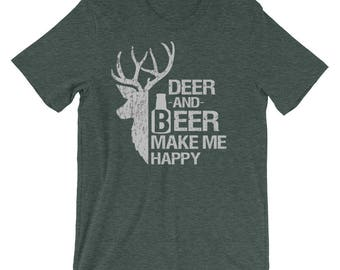 Hunter Deer t Shirt funny Quotes Short-Sleeve Unisex T-Shirt Deer and Beer make my Happy for man daddy gift