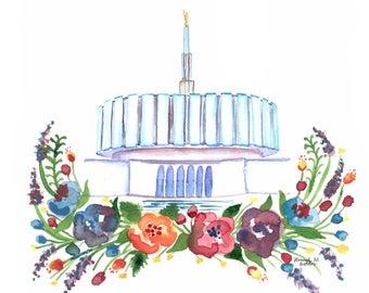 Provo Utah Temple Print, LDS Watercolor Painting