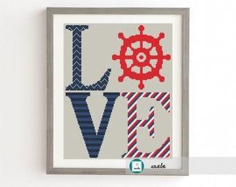 LOVE sign nautical motifs, modern cross stitch pattern, PDF, instant download