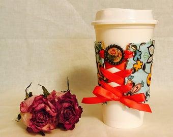 Coffee Cup Sleeve (Vintage Flower)