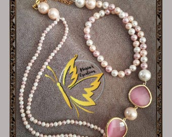 Rose-Necklace with pink and white pearls with pink crystals