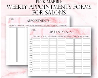 Pink Marble Weekly Appointments, Client Appointments, Salon Appointments, Salon Clients Schedule, Salon Appointments Book, Salon Bookings