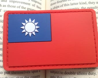Taiwan flag PVC full color morale patch