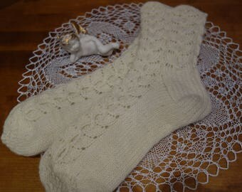 Free shipping! Hand knitted woolen socks. Herbally dyed wool. Beautiful gift.