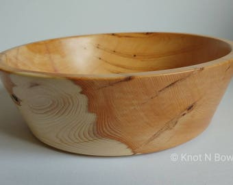 Hand-turned Yew wooden bowl