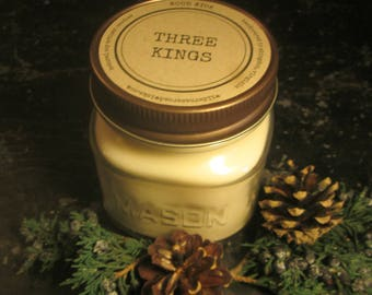 THREE KINGS // Soy Candle // Wood Wick // Mason Jar // Frankinscence // Myrrh // Herbal // Christmas // Holiday // Bohemian