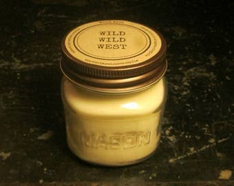 WILD WILD WEST // Soy Candle // Wood Wick // Mason Jar // Leather Scent // Western // Man