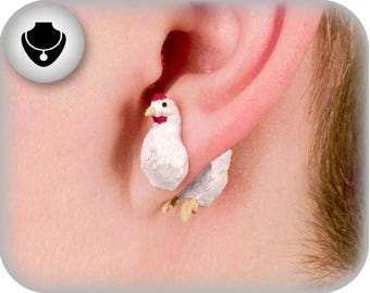 Hand Painted Chicken Earrings | 3D Printed | Custom Orders Available