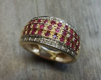 Gold 585 ring gold golden yellow ruby diamond Vintage Antique