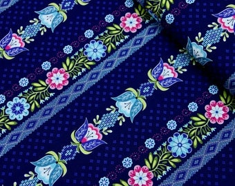 Floral Cotton Fabric, Fabric By The Yard, Cotton Fabric, 100% Cotton Fabric, Print Stripe Fabric, Fabric by the Half Yard, Quilting Fabric