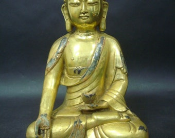 "Old Large Chinese Gilt Bronze Shakyamuni Buddha Statue Marked ""YongLe"""