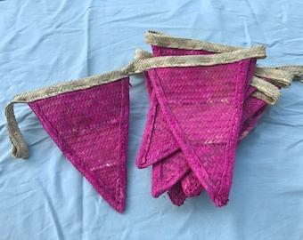 Handmade bunting, pink