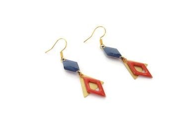 Earrings gold, Midnight blue and orange
