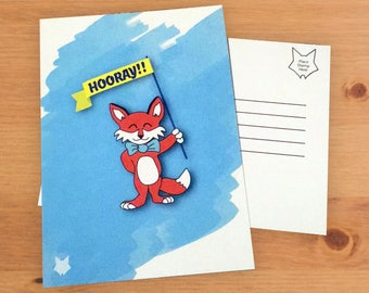 Let's Celebrate - Hooray Smart Fox A6 Postcard - Thick 300gsm Recycled Matte Paper