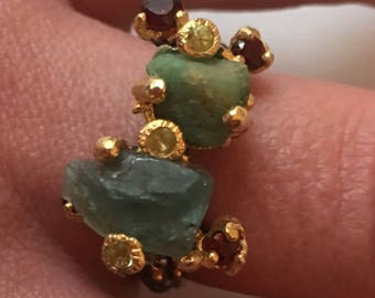 Raw apatite silver ring / size 57