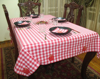 tablecloth with napkins, coton tablecloth,gingham check fabric tablecloth,