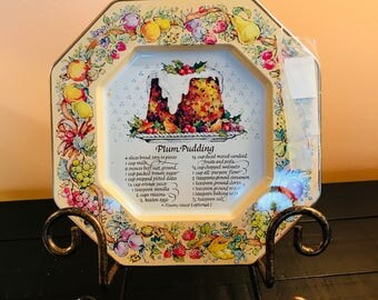 Vintage 1982 Avon Hospitality Sweets Recipe Plates. Plum Pudding, Blueberry-Orange Nut Bread and Buche De Noel.