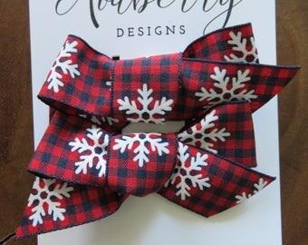 Snowflake Print Red and Navy Plaid Ribbon Bow Set