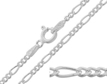 925 Sterling Silver Figaro 2mm Chain Necklace 14 16 18 20 22 24 26 28 30 inches
