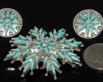 Petit Point Vintage Estate Sterling Native American Vera Halusewa Zuni Snow Flake 54mm21mm Pendant/Brooch andEarrings