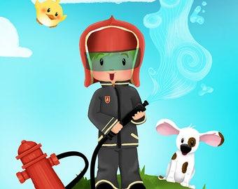 """Children illustration """"Little Fireman"""""""