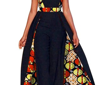 African Design Black Panther, Wakanda, Women's Rompers Jumpsuit Dashiki, Ankara fabric