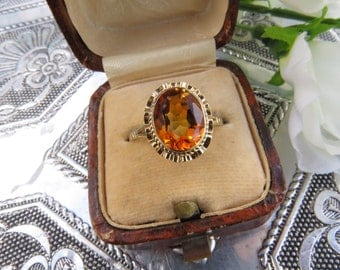 Vintage 9ct Yellow Gold  Citrine Solitaire Ring, Size O 1/2, Statement Ring, Engagement Ring, Vintage, Antique, Citrine Ring, Citrine Solita