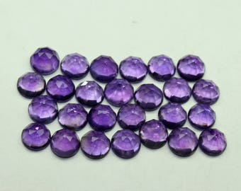 Natural Amethyst Rose cut Round Size- 5x5 MM Rounds 5 PCs Faceted Gemstone