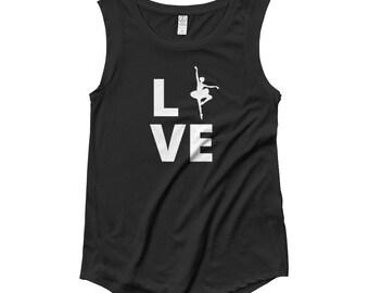 Ballet Love Tee   Ballet Dancer T-Shirt   Ladies' Cap Sleeve T-Shirt