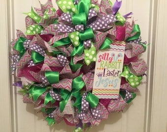 Deco mesh ribbon wreath, Easter wreath