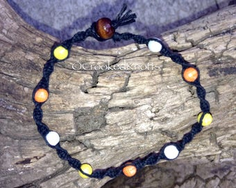 Hemp Candy Corn Colour Beaded Bracelet
