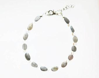 Labradorite and Clear Quartz Adjustable Bracelet