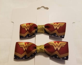 Set of Two small Wonder Woman bows.