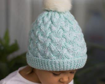 Knit hat Baby hat Toddler Girl Knit Toddler Boy Knit Wool hat Pom pom hat