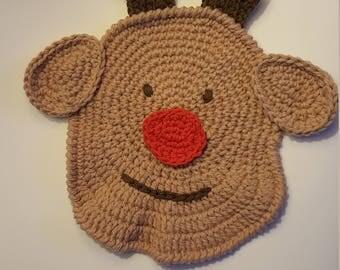 Crochet Rudolph Dishcloth