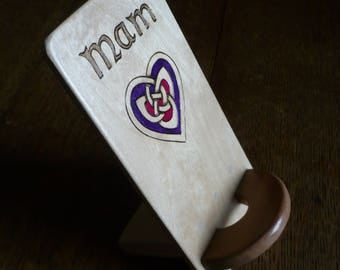 phone docking station in celtic design -pyrographed phone dock - phone stand -personalised phone stand - mothers day gift