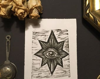 All seeing eye//gifts for him//gifts for him//Kunstdruck//graphics//Woodcut