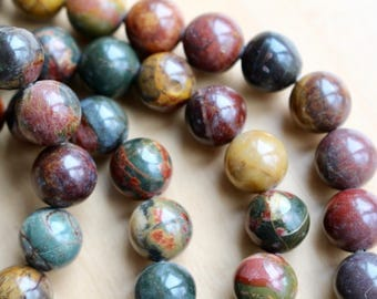 10mm Picasso Jasper beads, full strand, natural stone beads, round, 10022