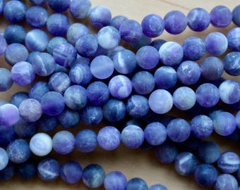 6mm Frosted Amethyst beads, full strand, natural stone beads, round, 60105