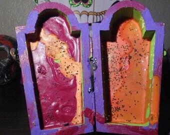 Green & Purple Crayola Splatter Wooden Coffin Box