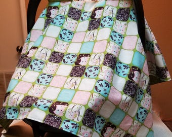 Pink Owl Carseat Cover / Carseat Canopy / Cotton Carseat Cover/ Baby Shower Gift