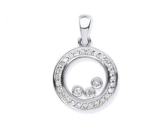 9ct White Gold 0.12ct Floating Trilogy Diamond Circle Pendant