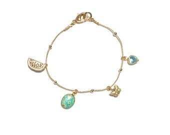 Golden Brass bracelet with charms