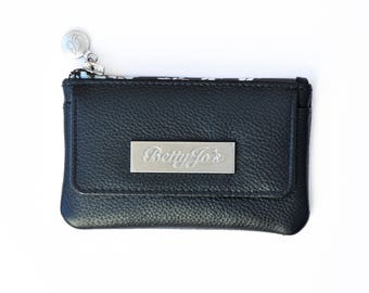 Black leather coin and card purse with RFID protection
